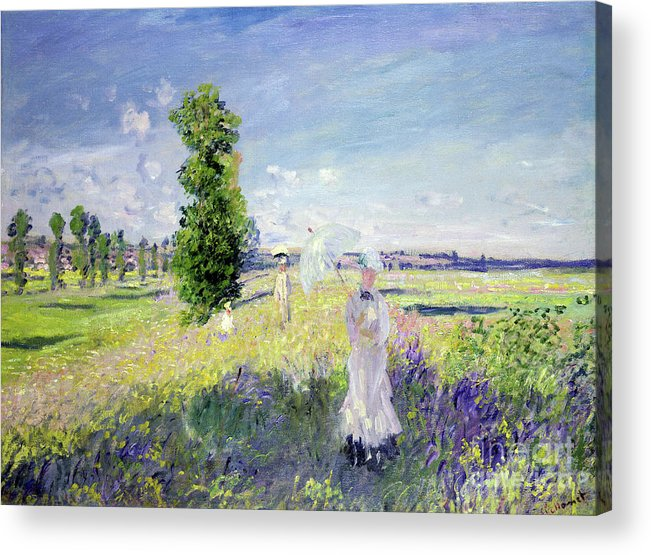 The Walk (argenteuil) Acrylic Print featuring the painting The Walk by Claude Monet