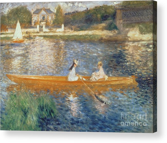 Boating On The Seine Acrylic Print featuring the painting Boating On The Seine by Pierre Auguste Renoir