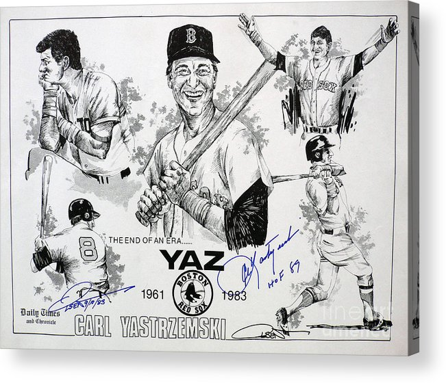 Red Sox Acrylic Print featuring the drawing Carl Yastrzemski Retirement Tribute Newspaper Poster by Dave Olsen