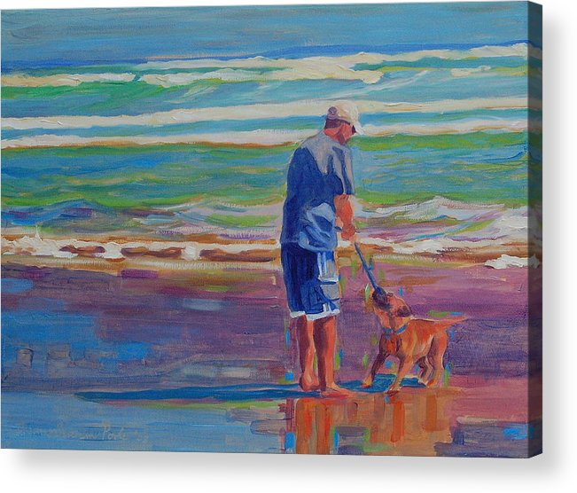 Dog At Play Acrylic Print featuring the painting Dog Beach Play by Thomas Bertram POOLE