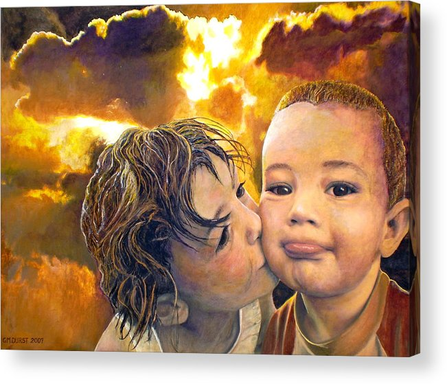 Children Acrylic Print featuring the painting First Kiss by Michael Durst