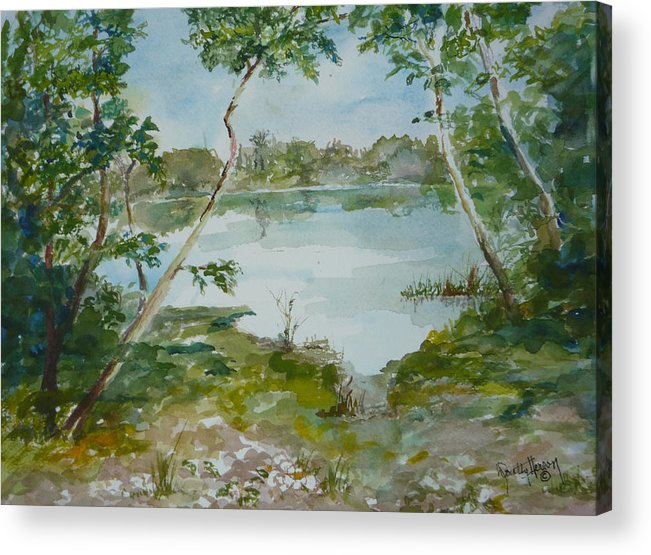 Lake Low Country Acrylic Print featuring the painting North Lake by Dorothy Herron
