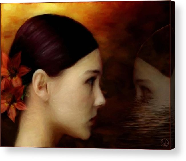 Woman Acrylic Print featuring the digital art A Glimpse Inside by Gun Legler