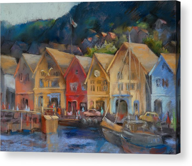 Bergen Norway Acrylic Print featuring the painting Bergen Bryggen In The Early Morning by Joan Jones