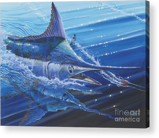 Blue Marlin Acrylic Print featuring the painting Blue Marlin Strike Off0053 by Carey Chen