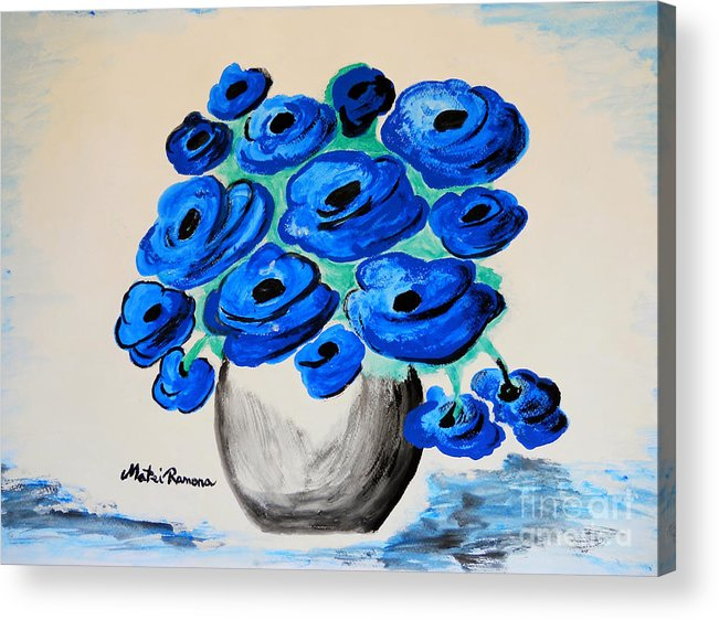 Poppies Acrylic Print featuring the painting Blue Poppies by Ramona Matei