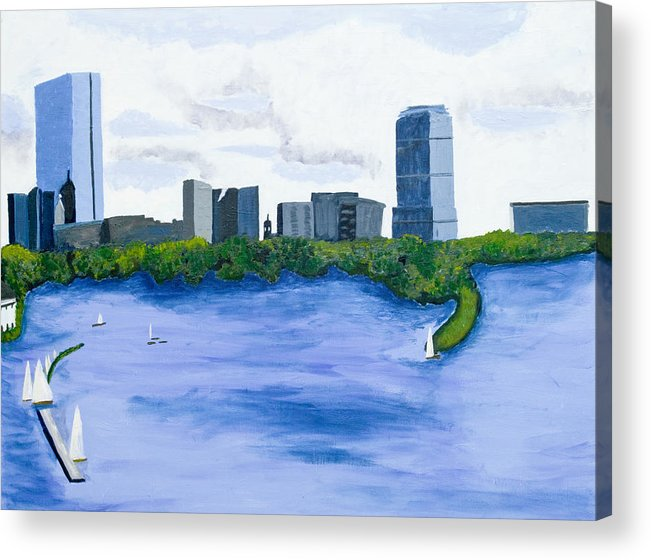Landscape Acrylic Print featuring the painting Boston Skyline by Carmela Cattuti