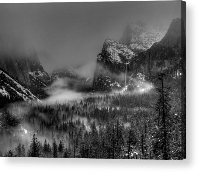 Black And White Acrylic Print featuring the photograph Enchanted Valley In Black And White by Bill Gallagher