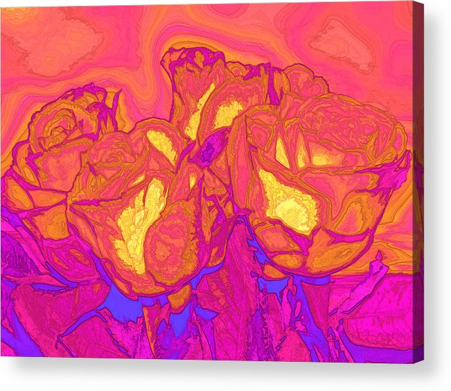 Abstract Acrylic Print featuring the digital art Passion's Petals by Wendy J St Christopher