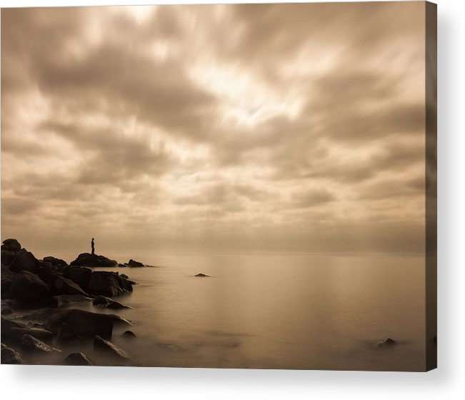 lake Superior great Lake human Element small.. Me Acrylic Print featuring the photograph Small... by Mary Amerman
