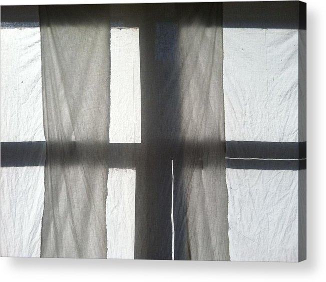 Window Acrylic Print featuring the photograph Sun Up Through Luke's Curtains by Anna Villarreal Garbis