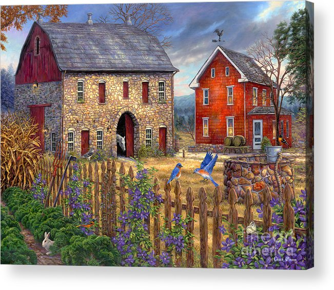 Gifts For Mom Acrylic Print featuring the painting The Bluebirds' Song by Chuck Pinson