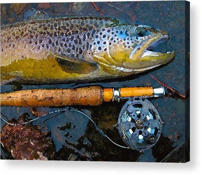 Trout Acrylic Print featuring the digital art Trout On Fly by Lina Tricocci
