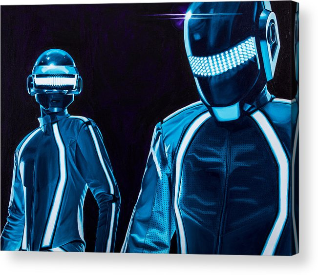 Tron Acrylic Print featuring the painting Daft Punk by Ellen Patton