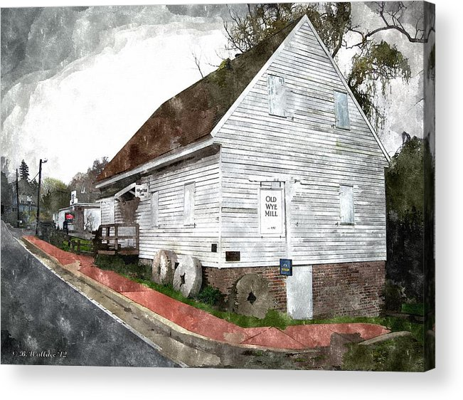 2d Acrylic Print featuring the photograph Wye Mill - Water Color Effect by Brian Wallace