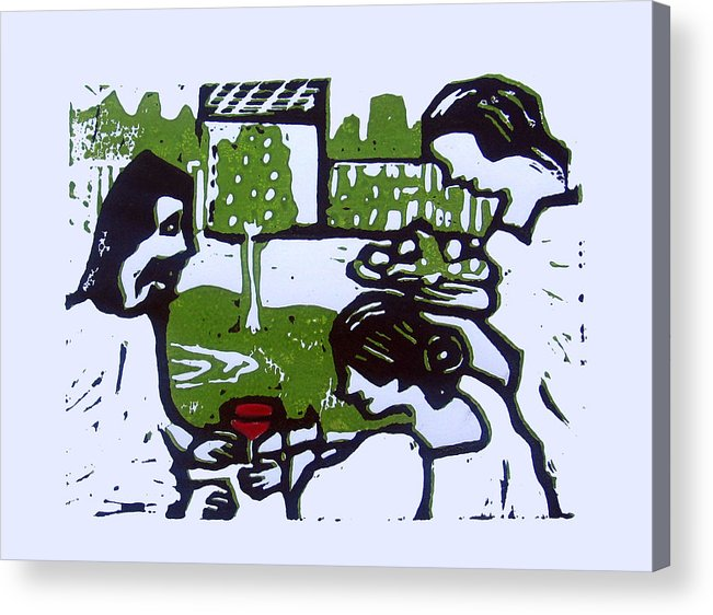Bible Acrylic Print featuring the drawing Jesus With Mary And Martha by Adam Kissel