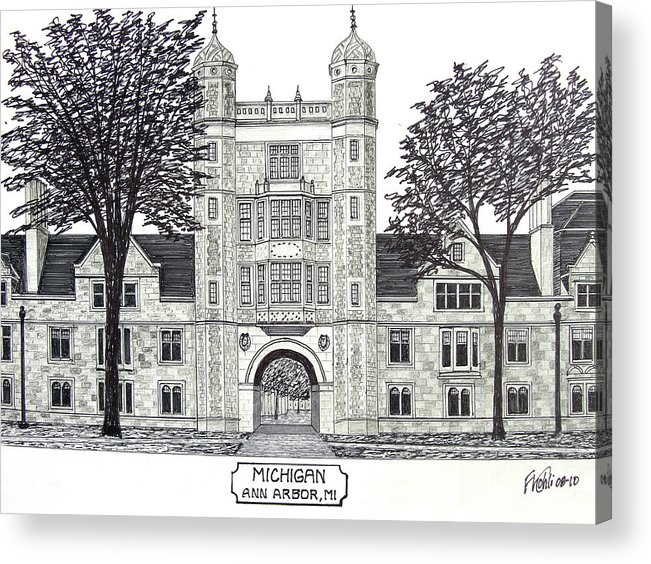 Pen And Ink Drawings Acrylic Print featuring the drawing Michigan by Frederic Kohli
