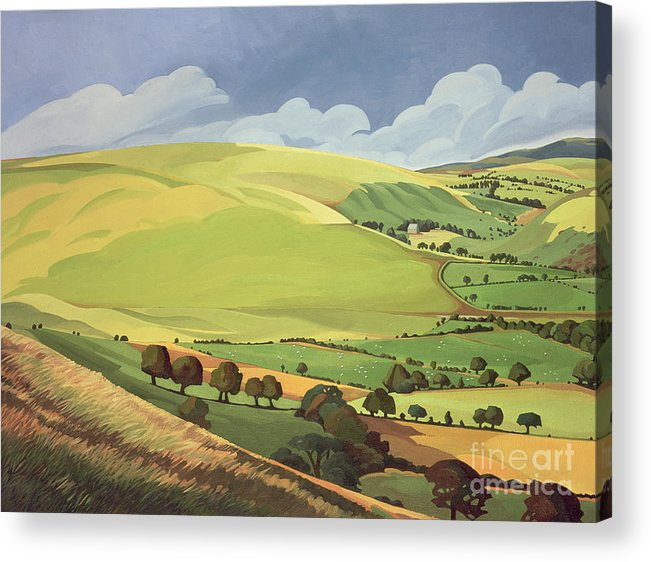 Welsh Landscape; Field; Fields; Country; Countryside; Rural; Rolling Hills; Valleys; Hill; Tree; Trees; Grass; Green; Sky; Landscape Acrylic Print featuring the painting Small Green Valley by Anna Teasdale