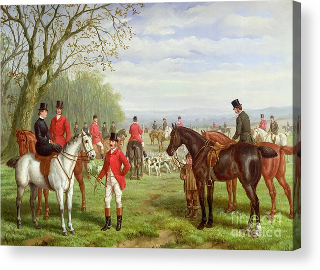 The Acrylic Print featuring the painting The Meet by Edward Benjamin Herberte