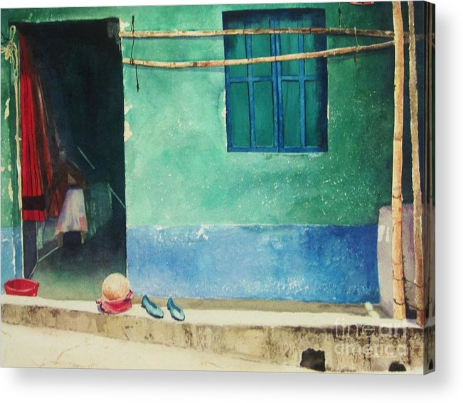 Guatemalan Home Acrylic Print featuring the painting Two Shoes And A Melon by Elizabeth Carr