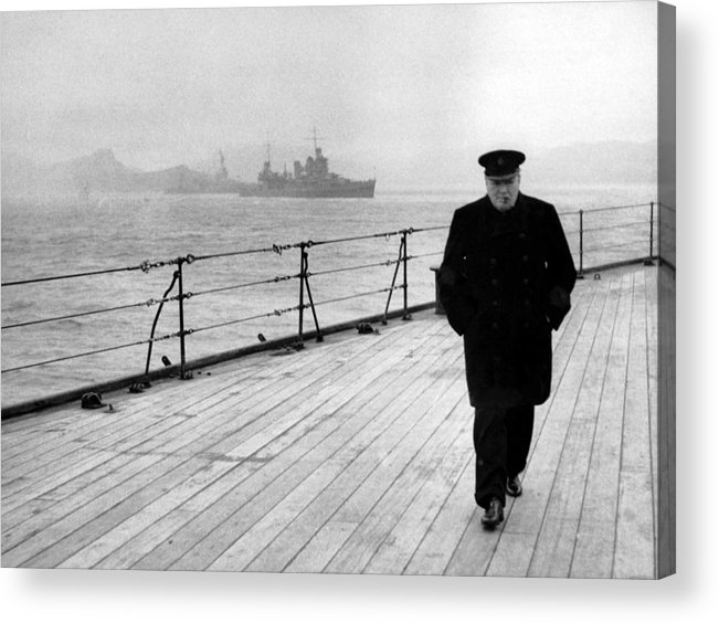 Winston Churchill Acrylic Print featuring the painting Winston Churchill At Sea by War Is Hell Store