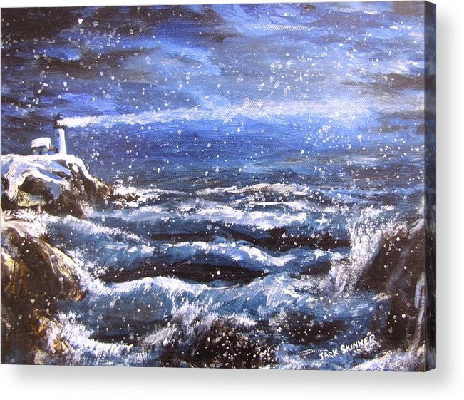 Ocean Acrylic Print featuring the painting Winter Coastal Storm by Jack Skinner