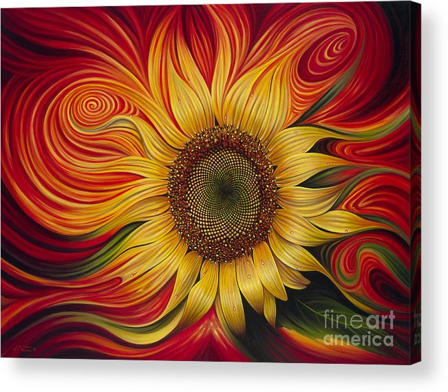 Sunflower Acrylic Print featuring the painting Girasol Dinamico by Ricardo Chavez-Mendez