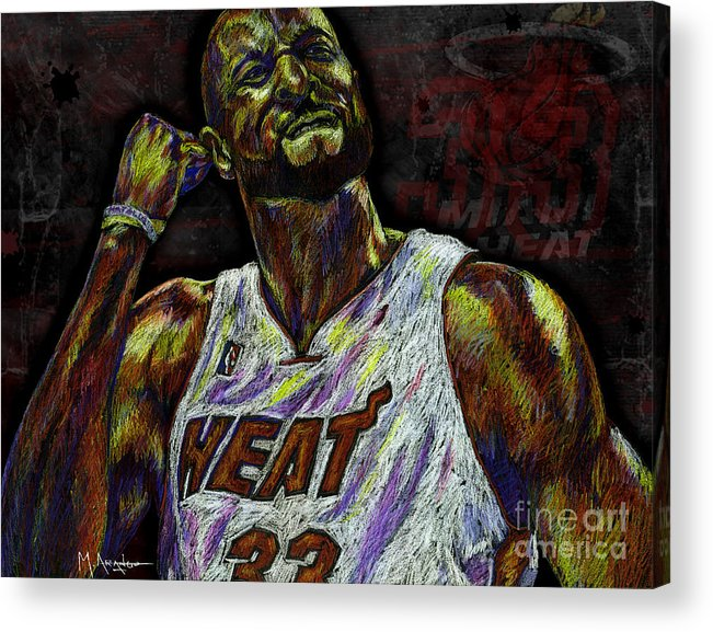 Alonzo Mourning Acrylic Print featuring the drawing Zo by Maria Arango