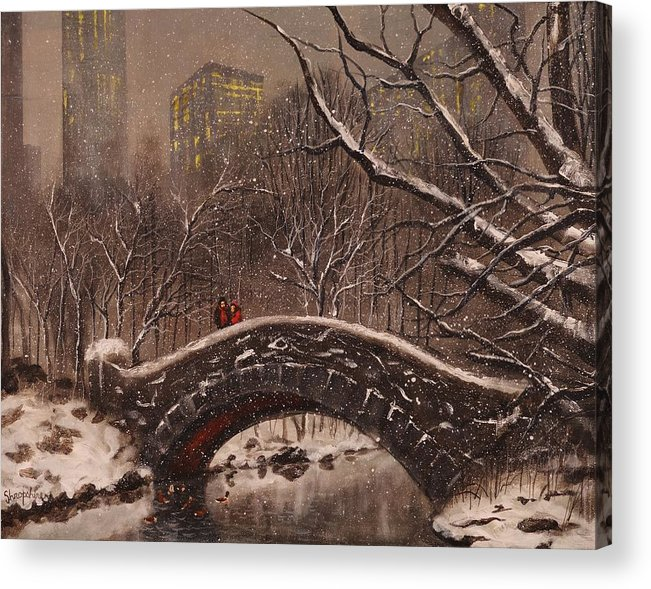 Snow Scene Acrylic Print featuring the painting Bridge In Central Park by Tom Shropshire