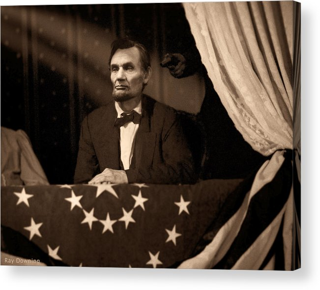 Abraham Lincoln Acrylic Print featuring the digital art Lincoln At Fords Theater by Ray Downing