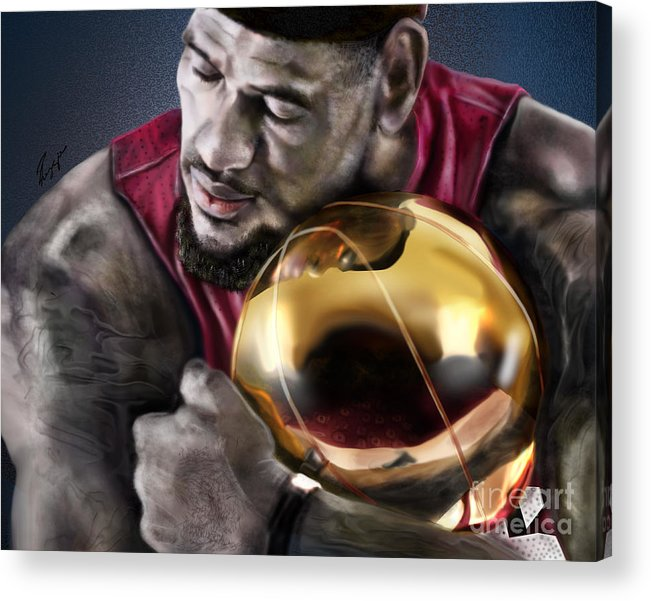 Lebron James Acrylic Print featuring the painting Lebron James - My Way by Reggie Duffie