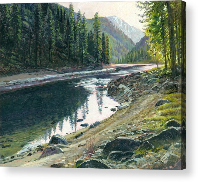 River Acrylic Print featuring the painting Near Horse Creek by Steve Spencer