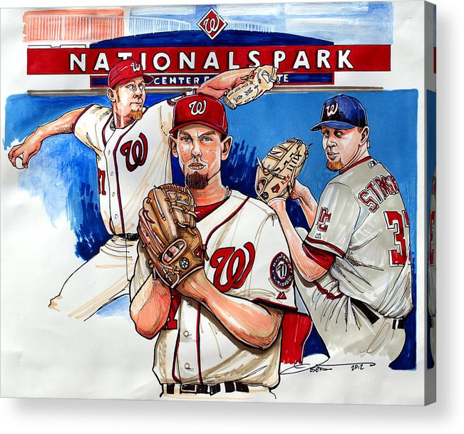 Stephen Strasburg Acrylic Print featuring the drawing Stephen Strasburg by Dave Olsen