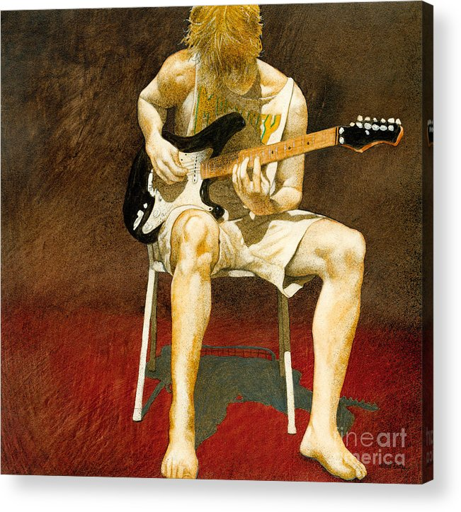 Will Bullas Acrylic Print featuring the painting Guitarman... by Will Bullas