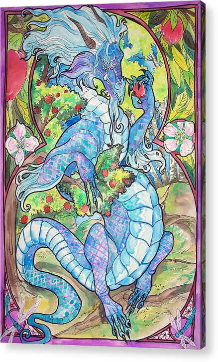 Dragons Acrylic Print featuring the painting Dragon Apples by Jenn Cunningham