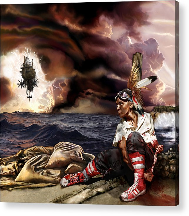 Steampunk Acrylic Print featuring the mixed media Marooned by Mandem