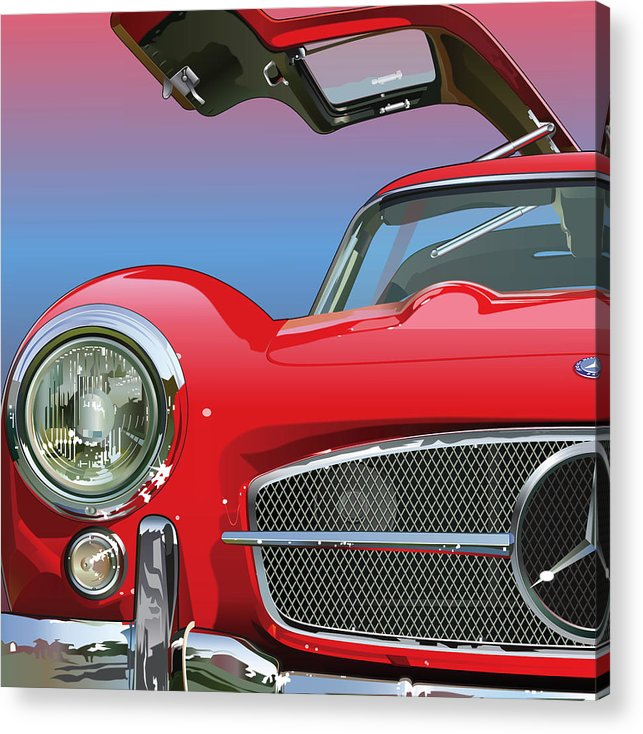 Automotive Art Acrylic Print featuring the drawing Mercedes 300 Sl Gullwing Detail by Alain Jamar