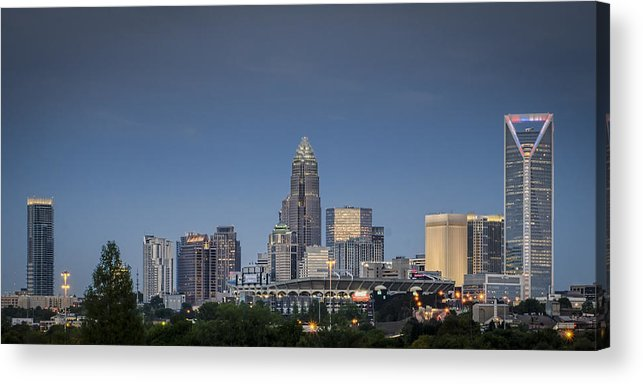 Charlotte Acrylic Print featuring the photograph Charlotte Skyline - Clear Evening by Brian Young
