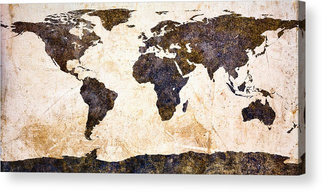 Earth Acrylic Print featuring the painting World Map Abstract by Bob Orsillo