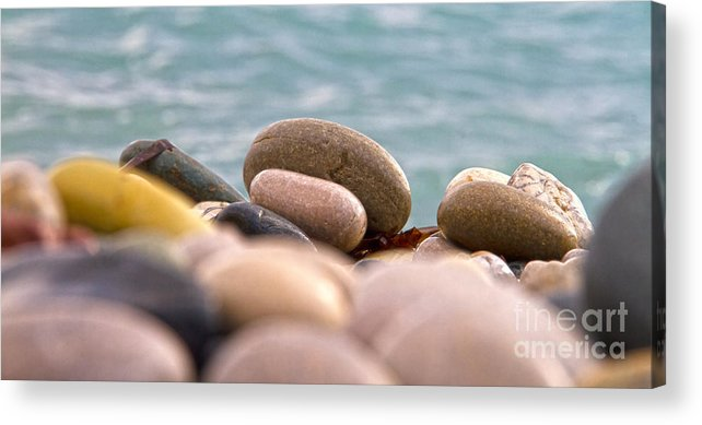 Abstract Acrylic Print featuring the photograph Beach And Stones by Stelios Kleanthous