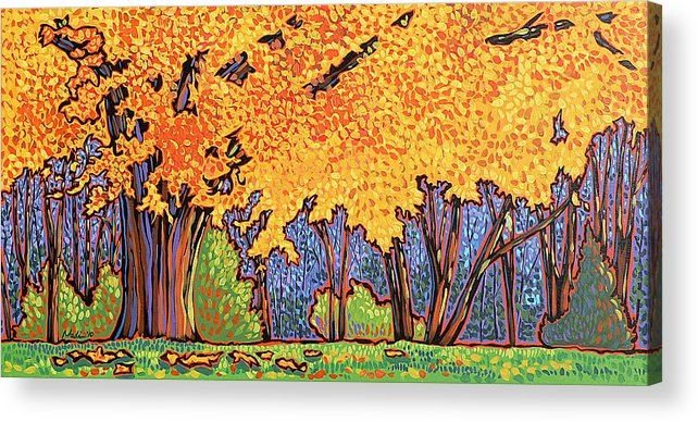 Tree Acrylic Print featuring the painting Yellow Tree by Nadi Spencer