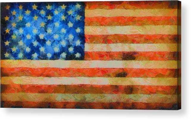Old Glory Acrylic Print featuring the painting Civil War Flag by Dan Sproul