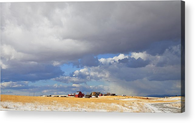Farm Acrylic Print featuring the photograph First Snow On Storybook Farm by Theresa Tahara