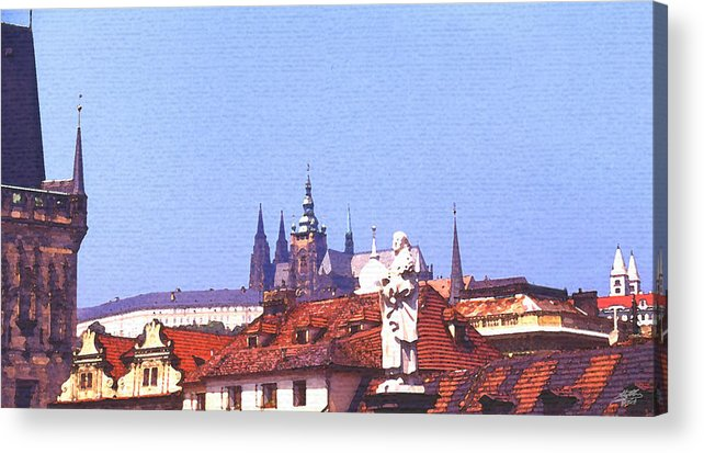 Steve Huang Acrylic Print featuring the digital art Prague Castle by Steve Huang