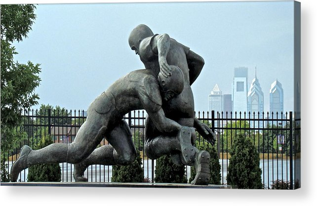 Football Statue Citizens Bank Park City View Philadelphia Acrylic Print featuring the photograph Football At Citizens Bank Park by Alice Gipson