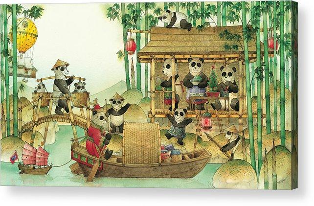 Christmas Greeting Cards Panda China Acrylic Print featuring the painting Pandabears Christmas 03 by Kestutis Kasparavicius