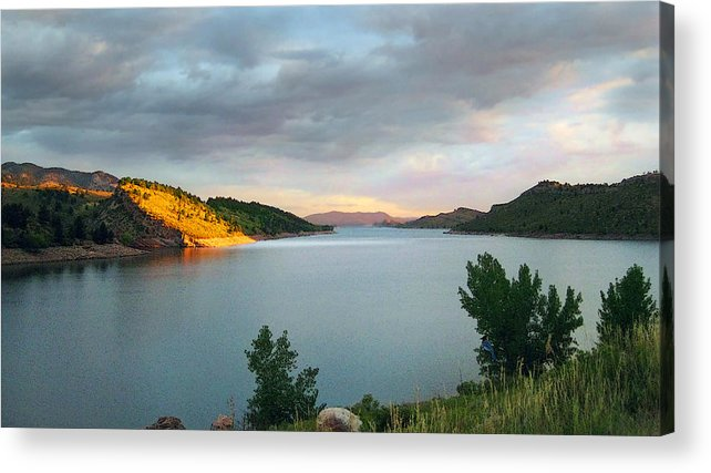 Horsetooth Reservoir Acrylic Print featuring the photograph First Light by Ric Soulen