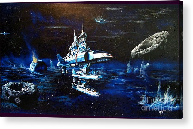Alien Acrylic Print featuring the painting Stellar Cruiser by Murphy Elliott