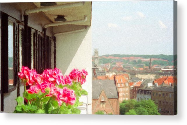 Aarhus Acrylic Print featuring the painting Flowers On The Balcony by Jeff Kolker