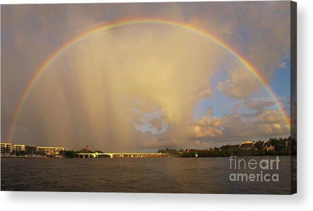 Rainbow Acrylic Print featuring the photograph Rainbow Jupiter Inlet by Bruce Bain